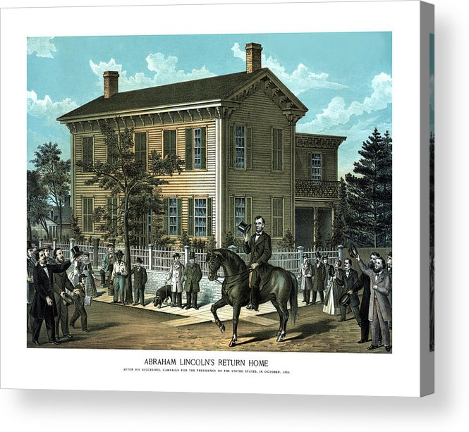 Abraham Lincoln Acrylic Print featuring the painting Abraham Lincoln's Return Home by War Is Hell Store