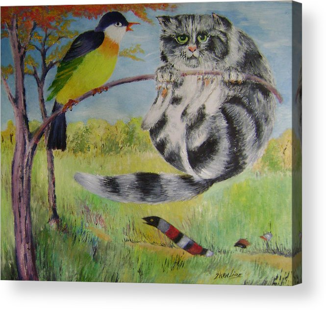 Surrealist Acrylic Print featuring the painting Adventure by Lian Zhen