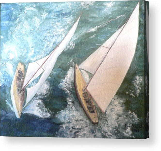 Sailing Acrylic Print featuring the painting America by Dan Bozich