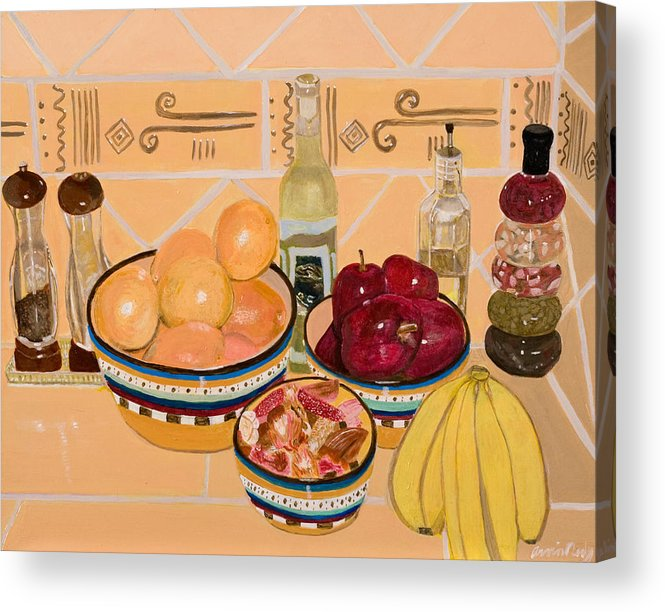 Still Life Acrylic Print featuring the painting Apples Oranges And Bananas by Arvin Nealy