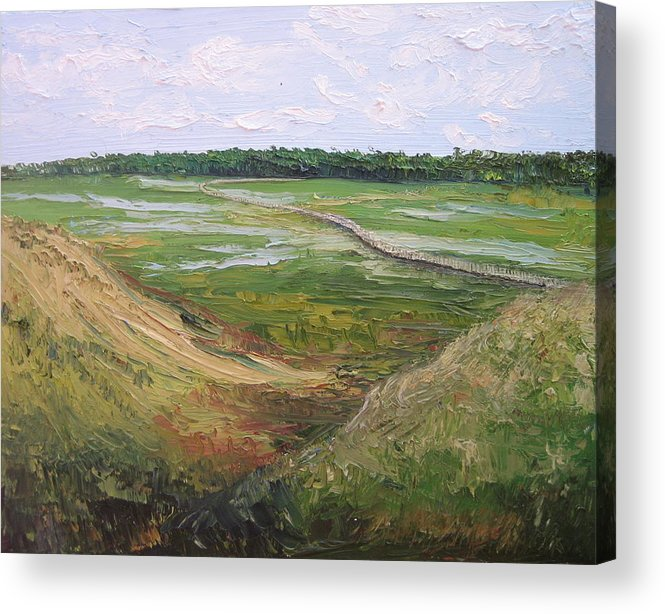 Marsh Acrylic Print featuring the painting August Marsh Boardwalk by Kayla Race