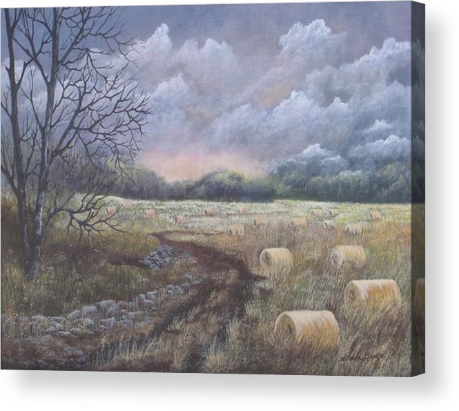 Landscape Acrylic Print featuring the painting Autumn Day by Sheila Banga