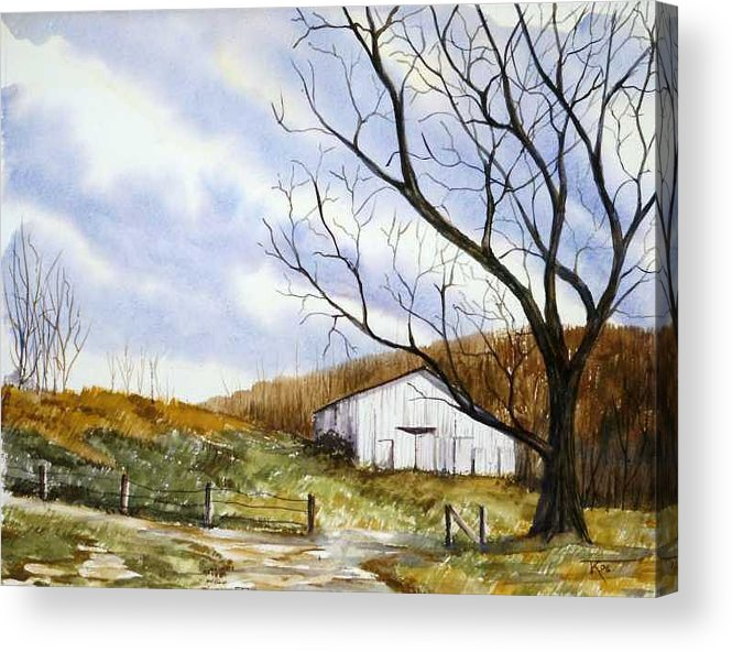 Barn Acrylic Print featuring the painting Barn At The Stage Stop by Travis Kelley