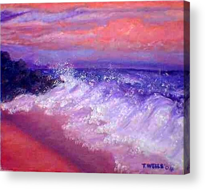 Beach Acrylic Print featuring the painting Beach at Sunrise by Tanna Lee M Wells