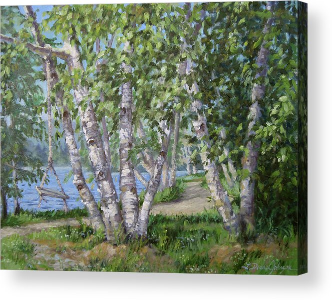 Adirondacks Acrylic Print featuring the painting Birch Lane by L Diane Johnson