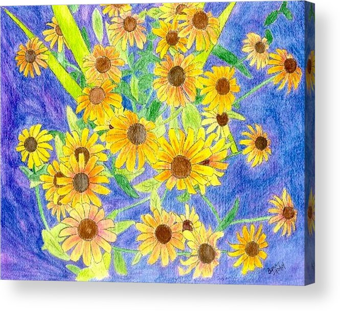 Watercolor Acrylic Print featuring the digital art Black eyed susan by Margie Byrne