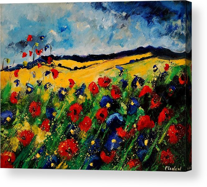 Poppies Acrylic Print featuring the painting Blue and red poppies 45 by Pol Ledent