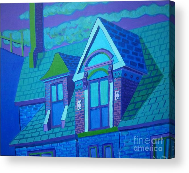 Blue Acrylic Print featuring the painting Blue Gloucester Rooftop by Debra Bretton Robinson