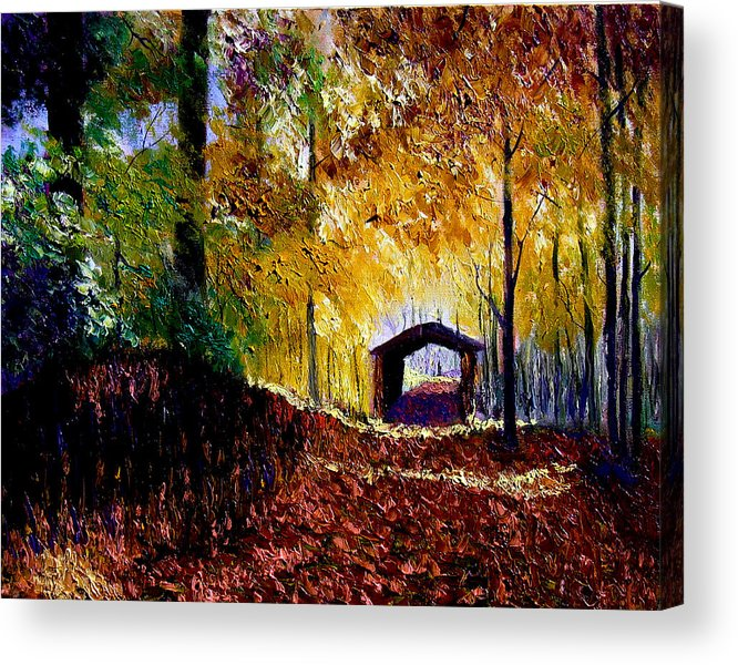 Ridge Acrylic Print featuring the painting Brown County Covered Bridge by Stan Hamilton