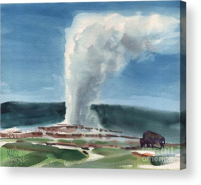 Yellowstone Acrylic Print featuring the painting Buffalo and Geyser by Donald Maier
