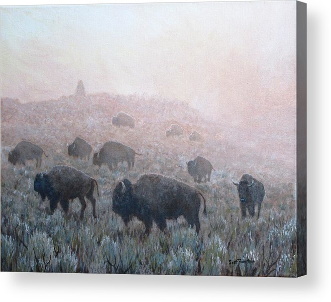 Western Art Acrylic Print featuring the painting Buffalo in Yellowstone Fog by Scott Robertson