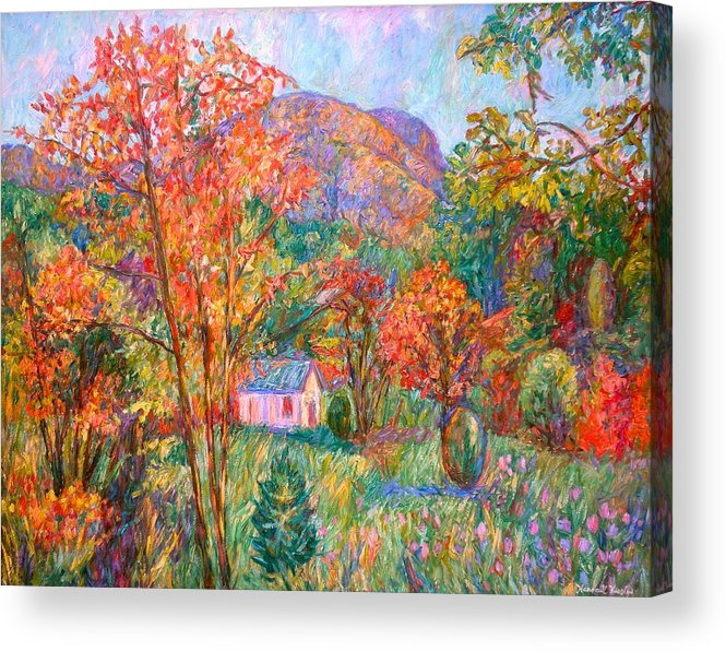 Landscape Acrylic Print featuring the painting Buffalo Mountain in Fall by Kendall Kessler