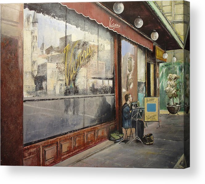 Cafe Acrylic Print featuring the painting Cafe Victoria by Tomas Castano