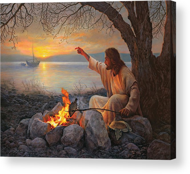 Jesus Acrylic Print featuring the painting Cast Your Nets on the Right Side by Greg Olsen