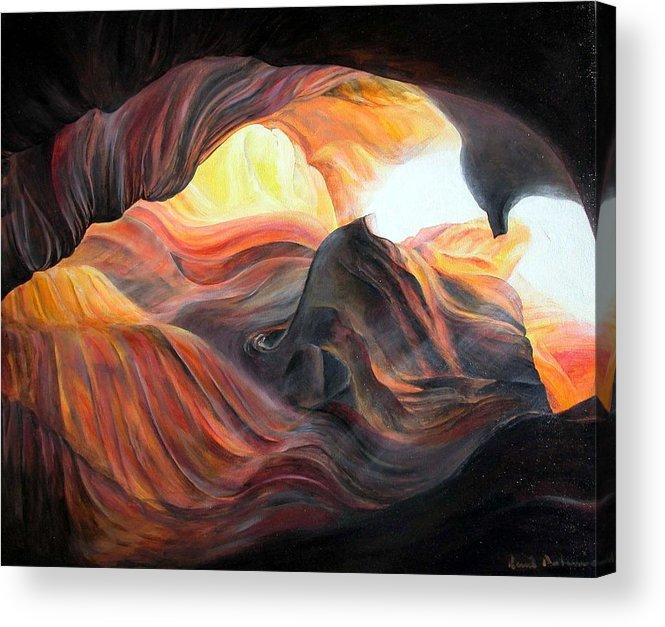Landscape Acrylic Print featuring the painting Caverne by Muriel Dolemieux