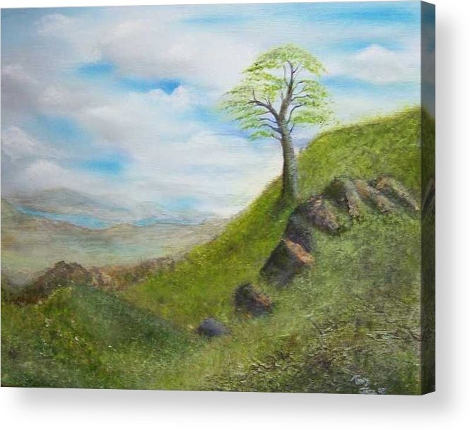 Landscape Acrylic Print featuring the painting Clouds by Tony Rodriguez