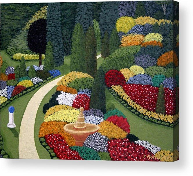 Landscape Paintings Acrylic Print featuring the painting Colorful Garden by Frederic Kohli