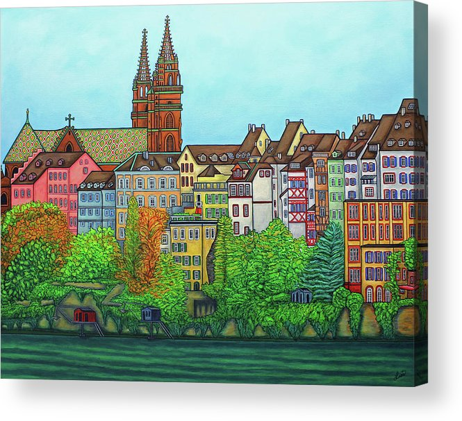 Lisa Lorenz Acrylic Print featuring the painting Basel, Colours of Basel by Lisa Lorenz