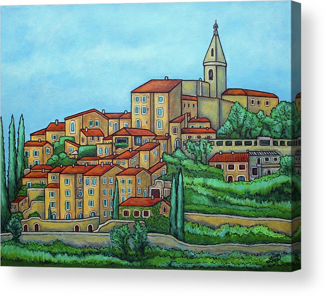 Provence Acrylic Print featuring the painting Colours of Crillon-le-Brave, Provence by Lisa Lorenz