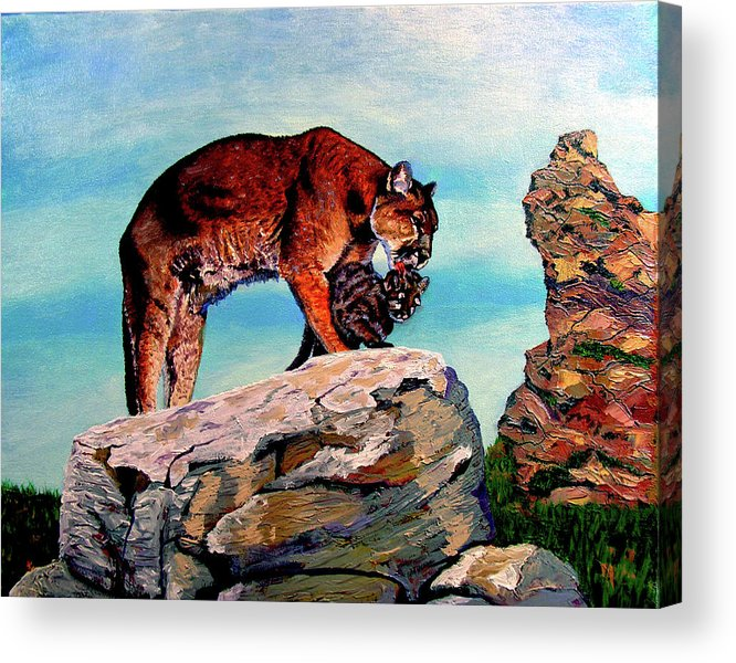 Cougar Acrylic Print featuring the painting Cougars Mother and Cub by Stan Hamilton