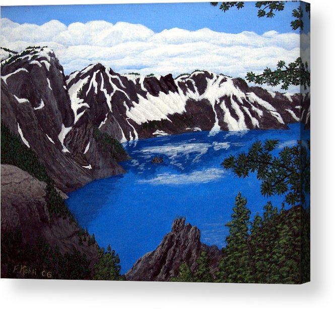 Art Acrylic Print featuring the painting Crater Lake by Frederic Kohli