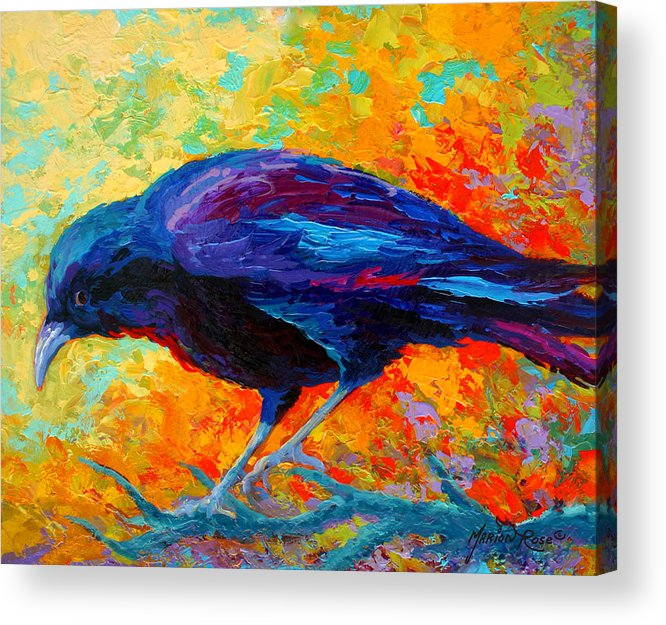 Crows Acrylic Print featuring the painting Crow III by Marion Rose