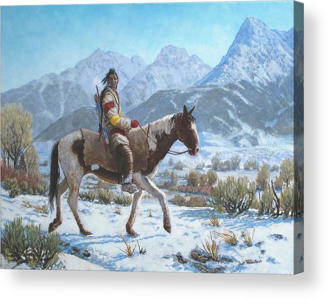 Crow Warrior Acrylic Print featuring the painting Crow on the Yellowstone river by Scott Robertson