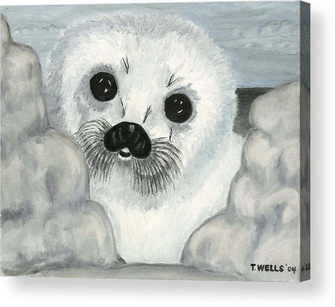 A Curious Arctic Seal Pup Peeking Through Icebergs Acrylic Print featuring the painting Curious Arctic Seal Pup by Tanna Lee M Wells