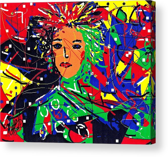 Woman Acrylic Print featuring the digital art Cyberspace Goddess by Natalie Holland
