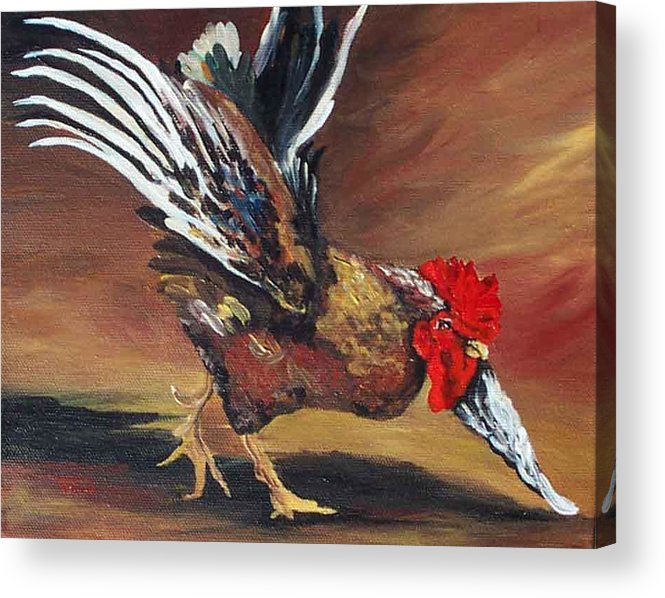 Chicken Acrylic Print featuring the painting Dancing Rooster by Torrie Smiley