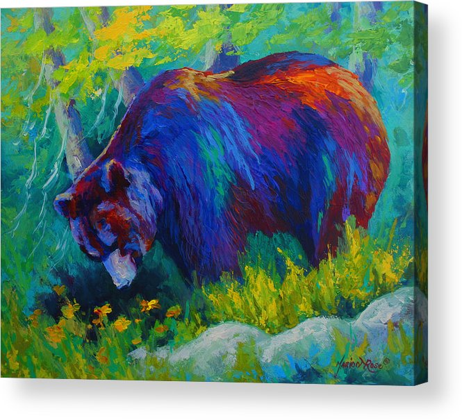 Western Acrylic Print featuring the painting Dandelions For Dinner - Black Bear by Marion Rose