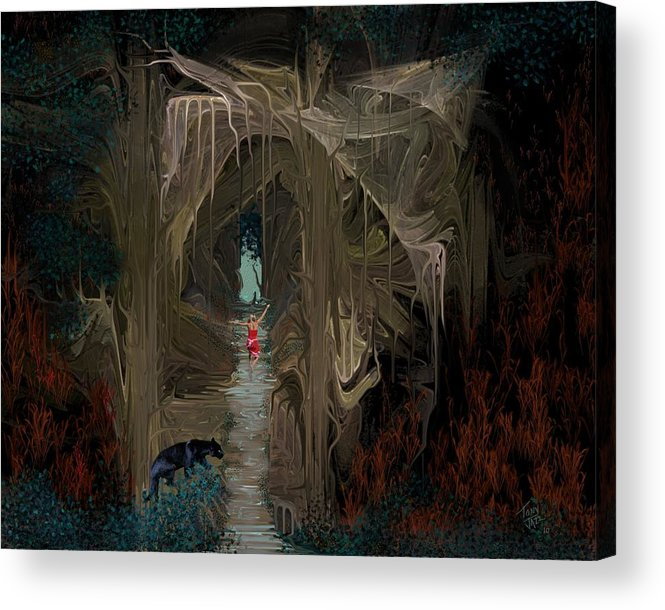 Fantasy Acrylic Print featuring the digital art Danger in the Forrest by Tony Rodriguez