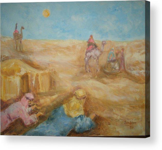 Landscape Camels Arabs Desert Animal Tents Acrylic Print featuring the painting Desert by Joseph Sandora Jr