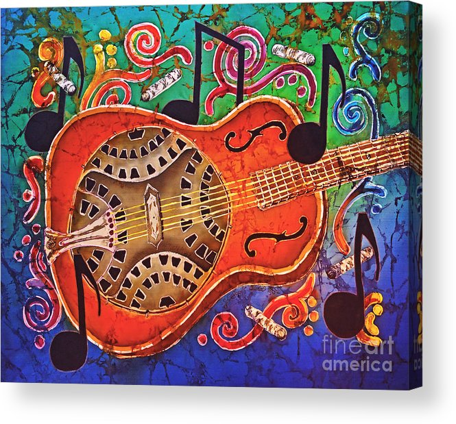 Dobro Acrylic Print featuring the tapestry - textile Dobro - Slide Guitar by Sue Duda