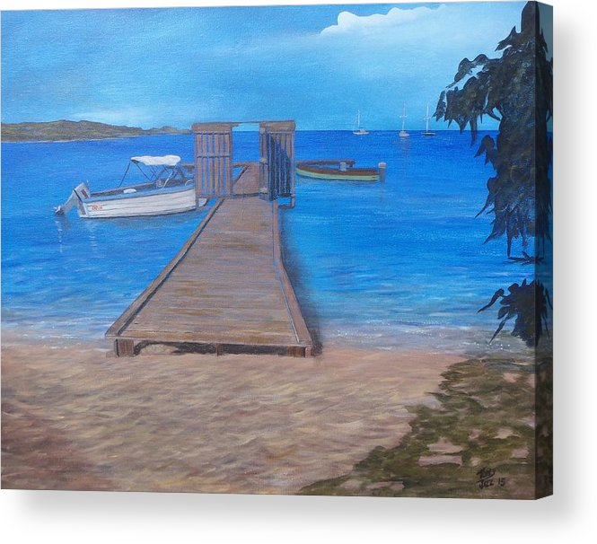 Seascape Acrylic Print featuring the painting Dock on the Beach by Tony Rodriguez