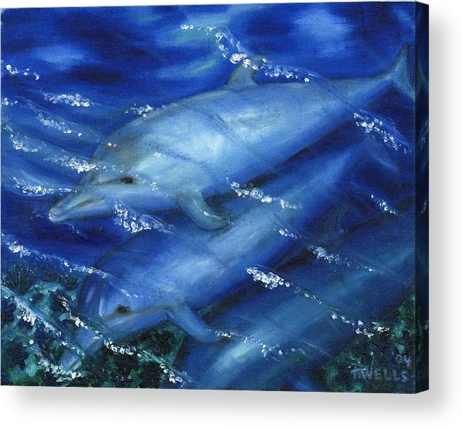 Dolphins Acrylic Print featuring the painting Dolphins Swimming by Tanna Lee M Wells