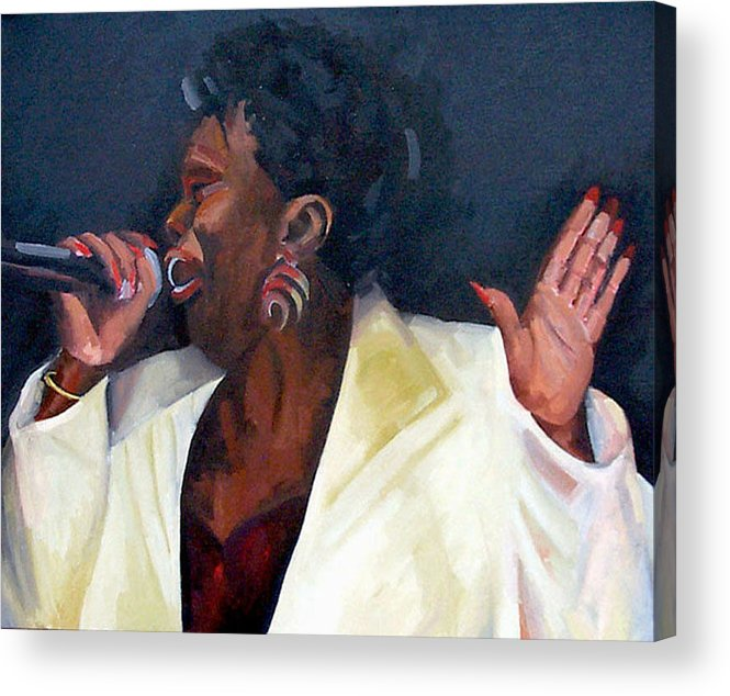 Portrait Acrylic Print featuring the painting Don't Boss Me Baby by Jackie Merritt