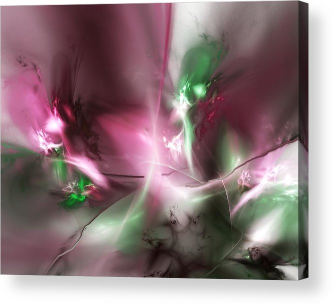 Fractal Acrylic Print featuring the digital art Dreaming in Red and Green by David Lane