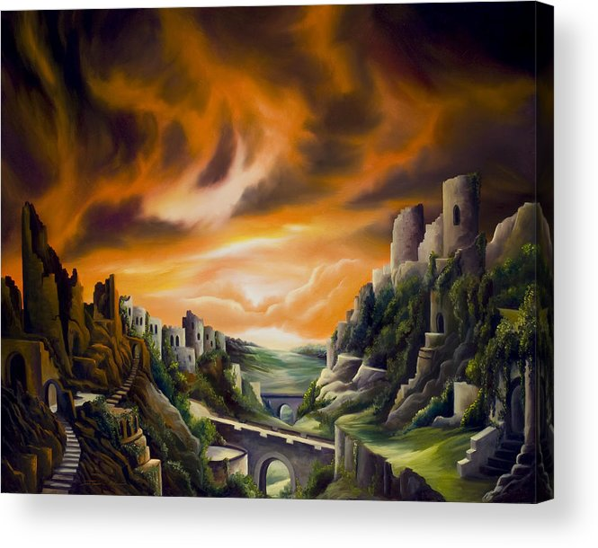 Ruins; Cityscape; Landscape; Nightmare; Horror; Power; Roman; City; World; Lost Empire; Dramatic; Sky; Red; Blue; Green; Scenic; Serene; Color; Vibrant; Contemporary; Greece; Stone; Rocks; Castle; Fantasy; Fire; Yellow; Tree; Bush Acrylic Print featuring the painting DualLands by James Christopher Hill
