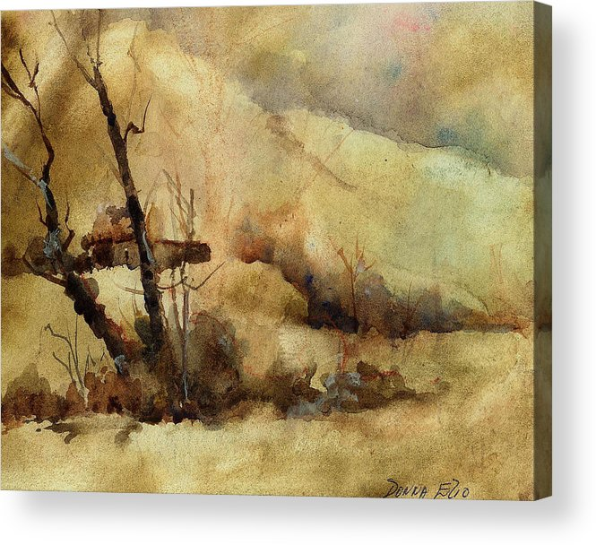 Watercolor. Impressionist. Landscape Acrylic Print featuring the print Early Winter by Donna Elio