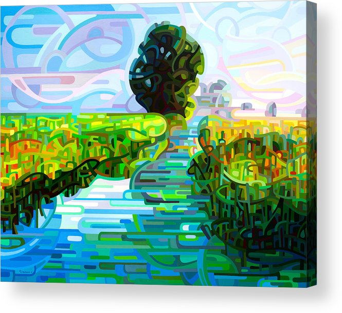 Abstract Acrylic Print featuring the painting Ebb and Flow by Mandy Budan