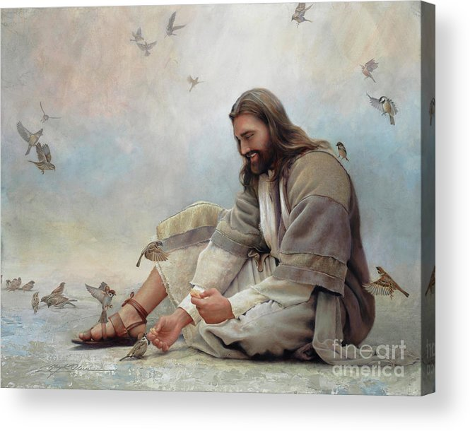 Jesus Acrylic Print featuring the painting Even A Sparrow by Greg Olsen