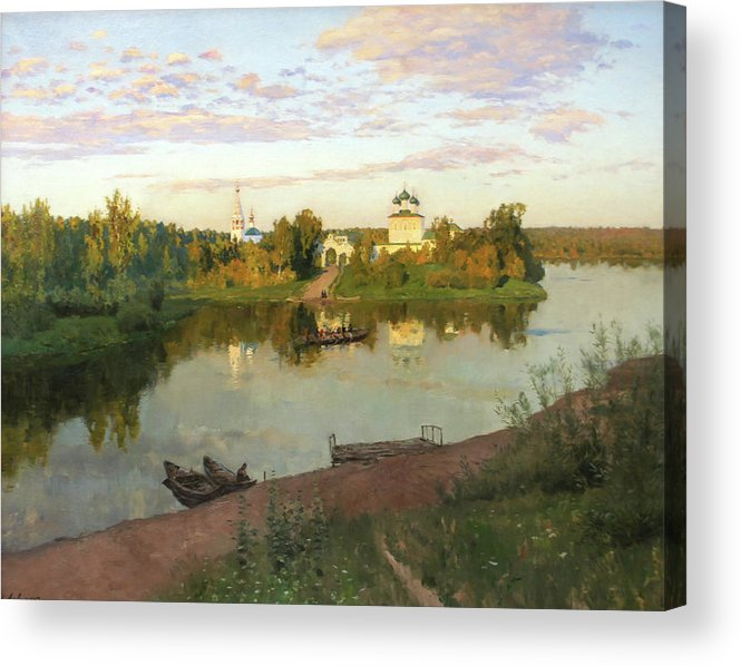 Isaac Levitan Acrylic Print featuring the painting Evening Bells by Isaac Levitan