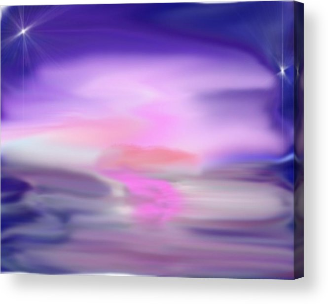 Sea Acrylic Print featuring the digital art Evening kiss by Dr Loifer Vladimir