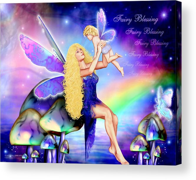 Fairy Acrylic Print featuring the painting Fairy Blessing by Dreamlight Creations