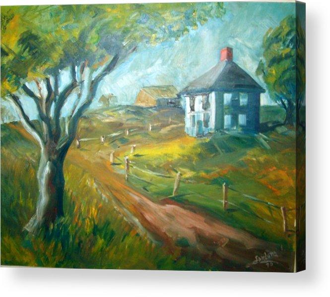 Landscape Farm House Acrylic Print featuring the painting Farm In Gorham by Joseph Sandora Jr