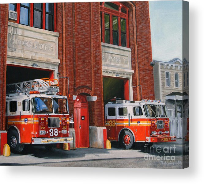 Fire House Acrylic Print featuring the painting FDNY Engine 88 and Ladder 38 by Paul Walsh