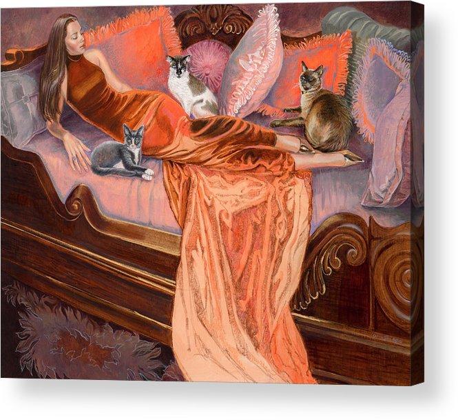 Fashion Illustration Acrylic Print featuring the painting Feline Fashion Harem by Barbara Tyler Ahlfield