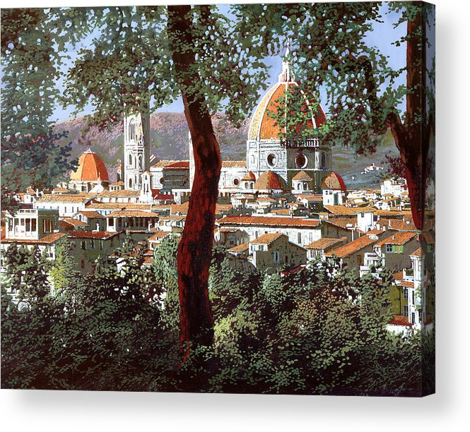 Landscape Acrylic Print featuring the painting Firenze by Guido Borelli