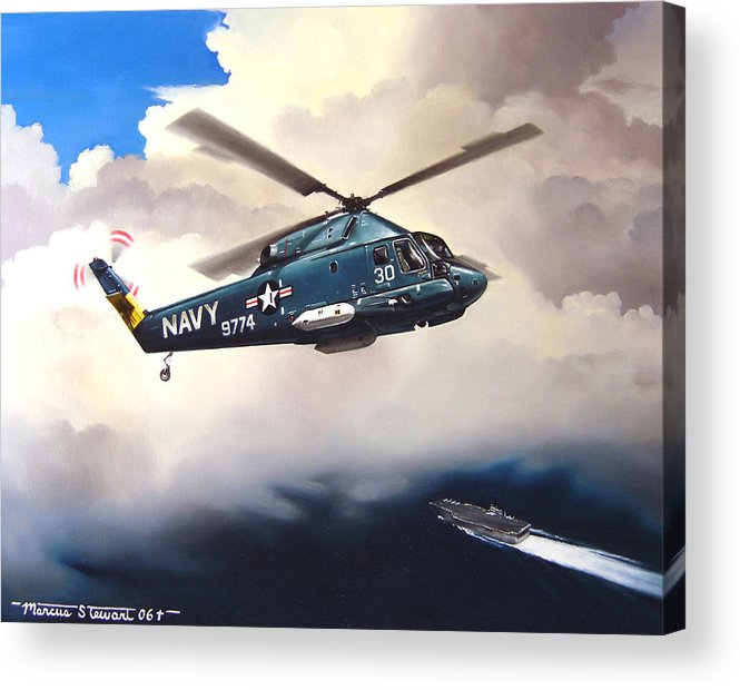 Military Acrylic Print featuring the painting Flight of the Seasprite by Marc Stewart